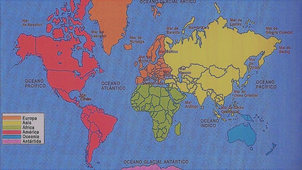 mapa mundi oceanos mares colores