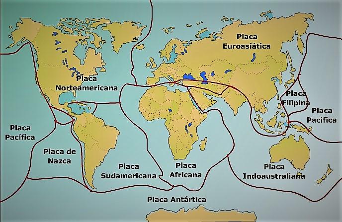 mapa mundi con nombres de placas tectonicas