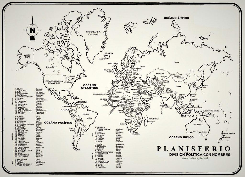 planisferio paises con nombres