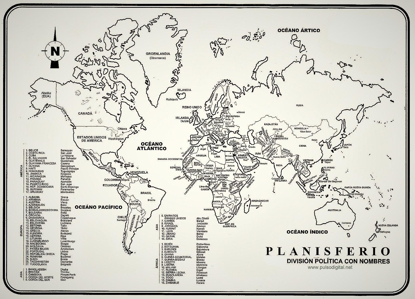 Mapa Mundi Mudo En Blanco Y Negro.Mapamundis Politicos Para Imprimir Mapas Del Mundo De