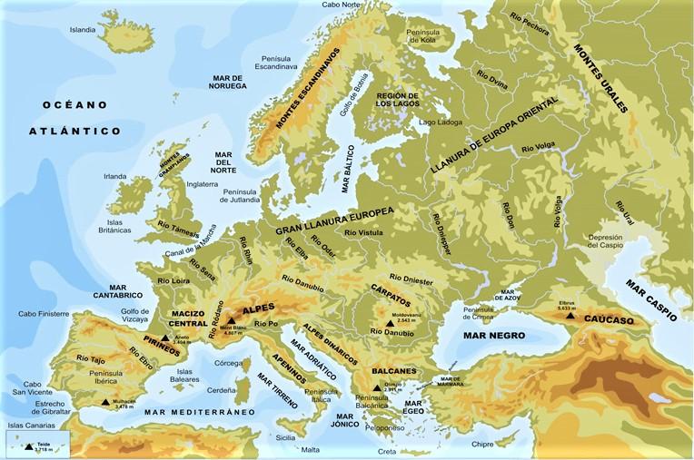 mapa europa fisico con nombres