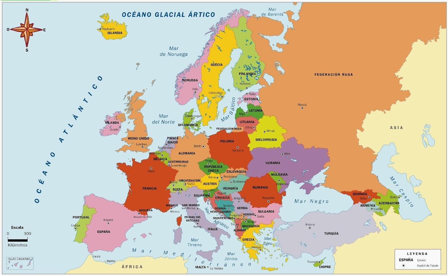 Mapa De Europa Paises Y Capitales En Español.Mapa De Europa Para Imprimir Politico Fisico 2019