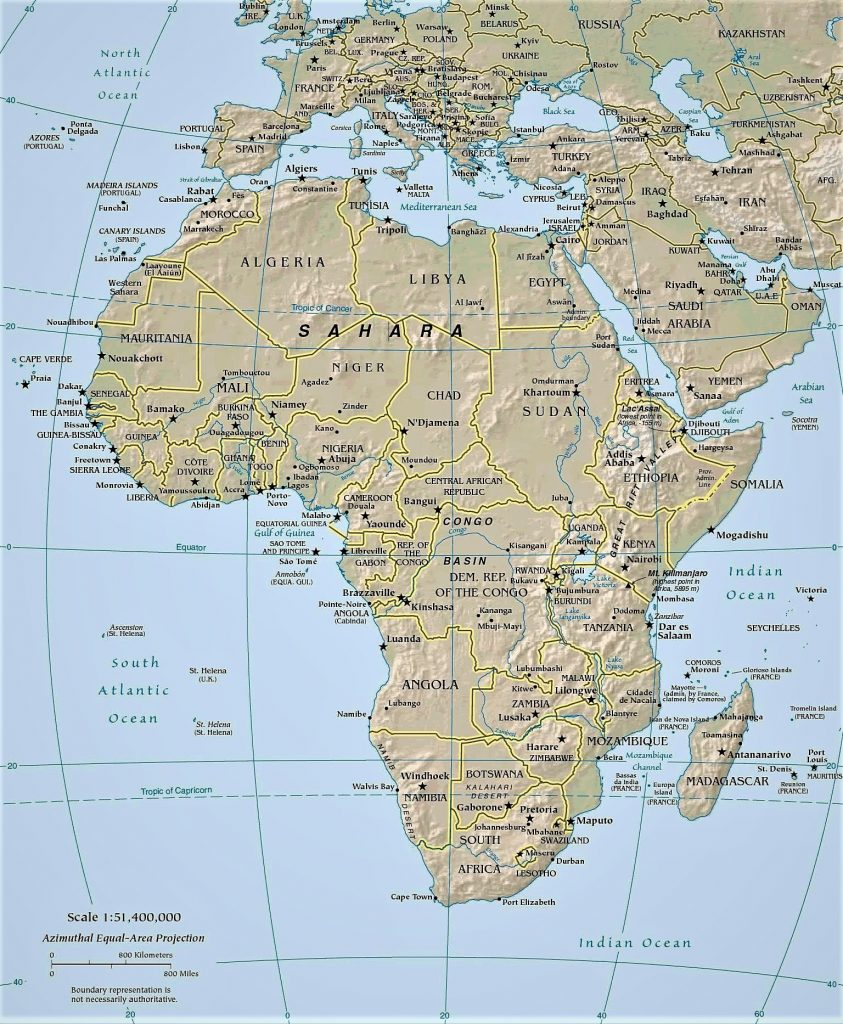 mapa africa nombres