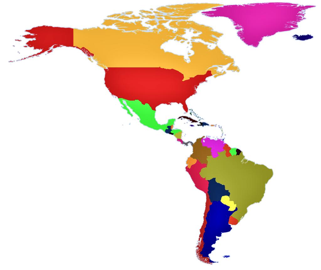 mapa de america politico mudo