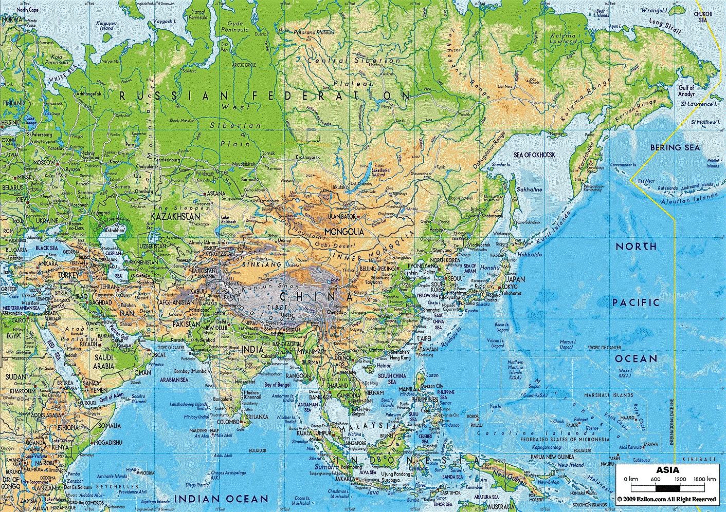 mapa interactivo de asia fisico