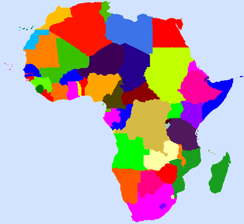 mapa africa sin nombres