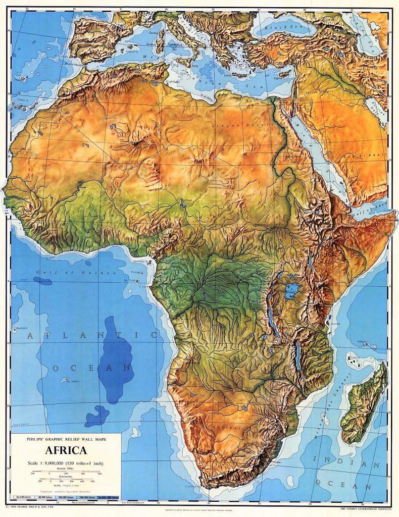 mapa de africa fisico