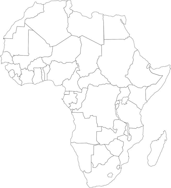 mapa politico africa en blanco