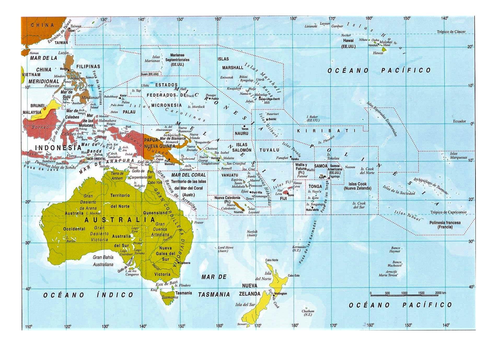 Mapa Oceania Mudo Fisico.Mapa De Oceania Politico Fisico Mudo Con Nombres Mapamundi