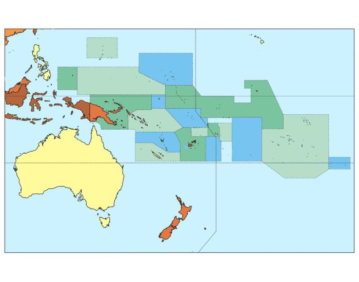 mapa oceania para rellenar