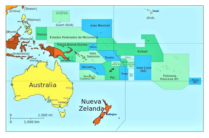 mapa oceania nombres