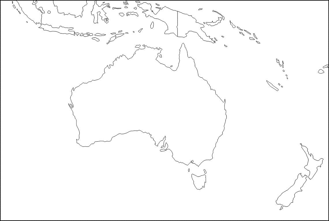 Mapa De Oceania Politico Fisico Mudo Con Nombres Mapamundi