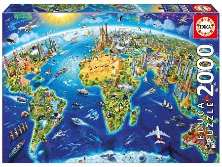 educa borras puzzle mapamundi 2000 piezas