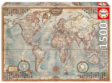Puzzle mapamundi 1500 piezas Educa