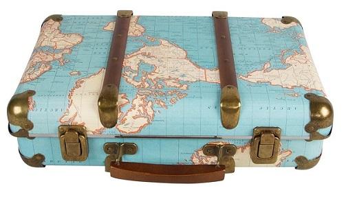 maleta vintage mapa mundi