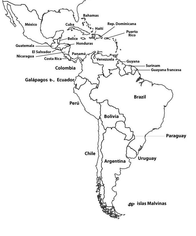 mapa latinoamerica con nombres