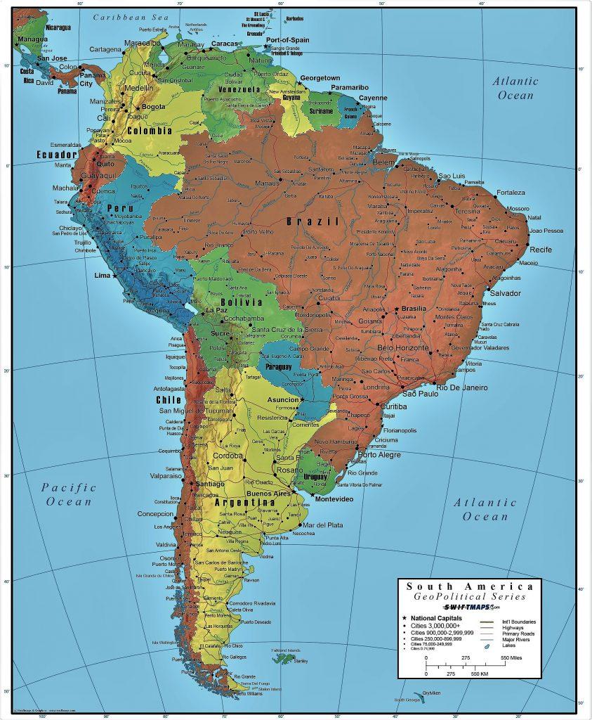 mapa politico america sur