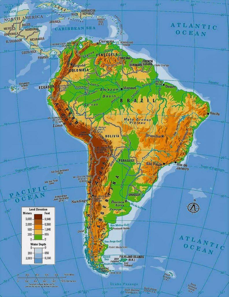 mapa sudamerica fisico