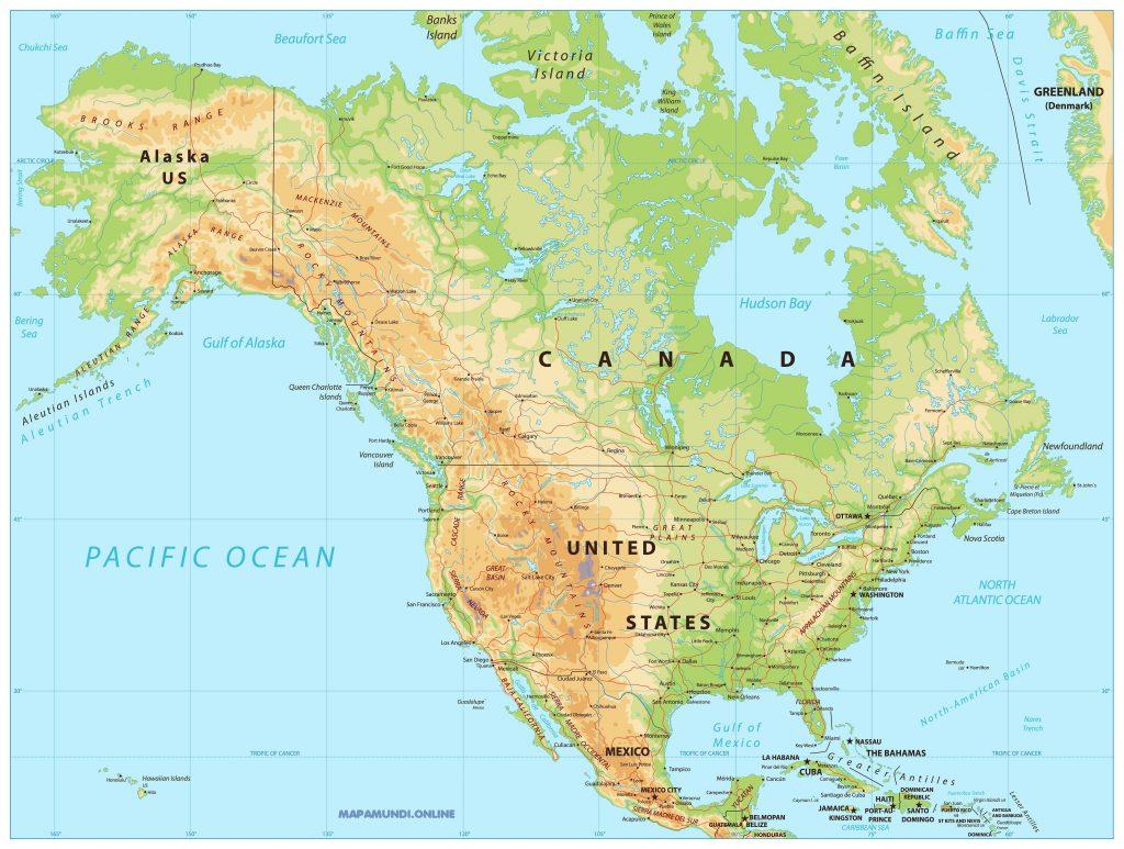mapa america politico fisico nombres hd