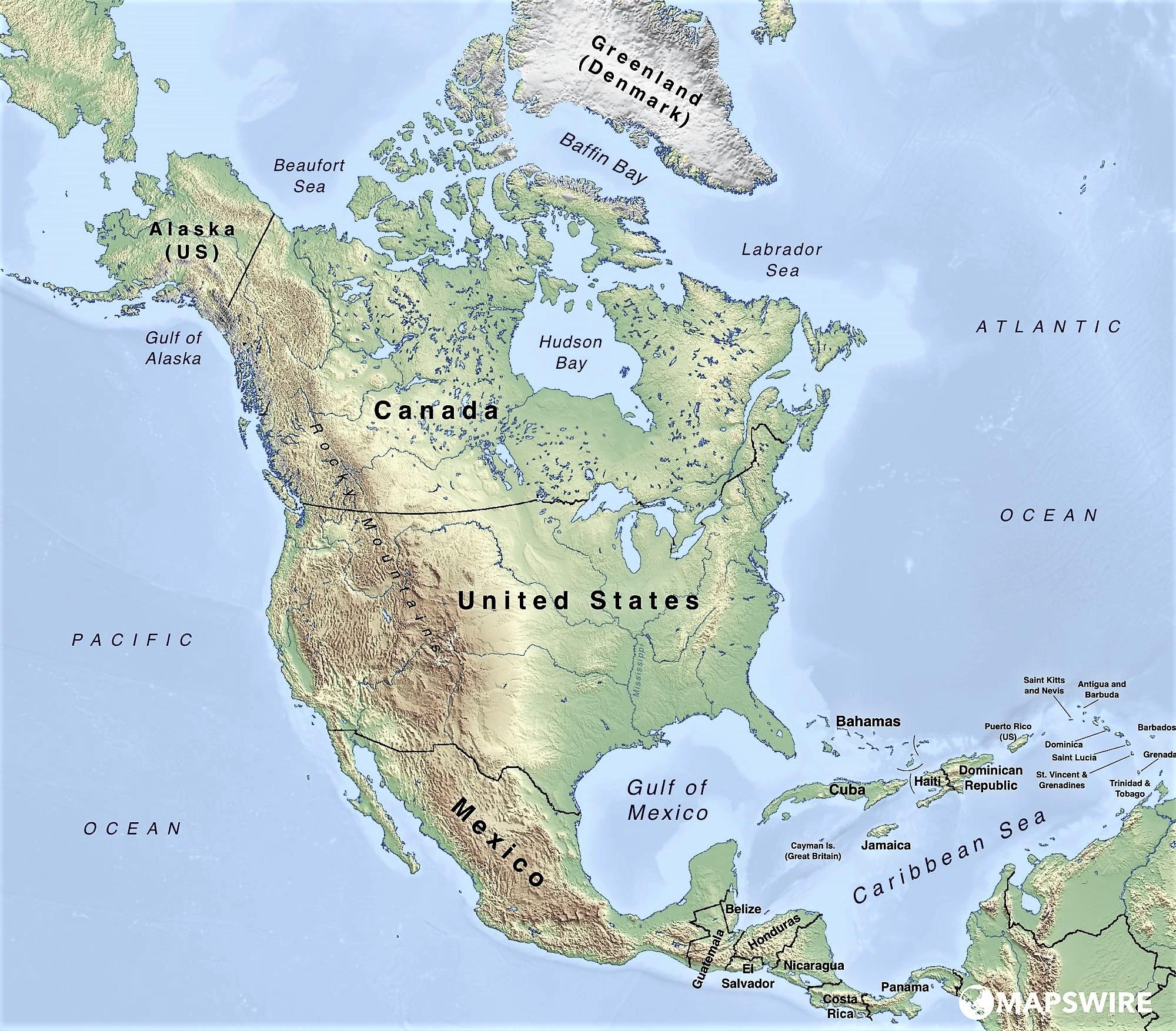 Mapa Fisico De America Mudo.Mapa De America Del Norte Norteamerica Politico