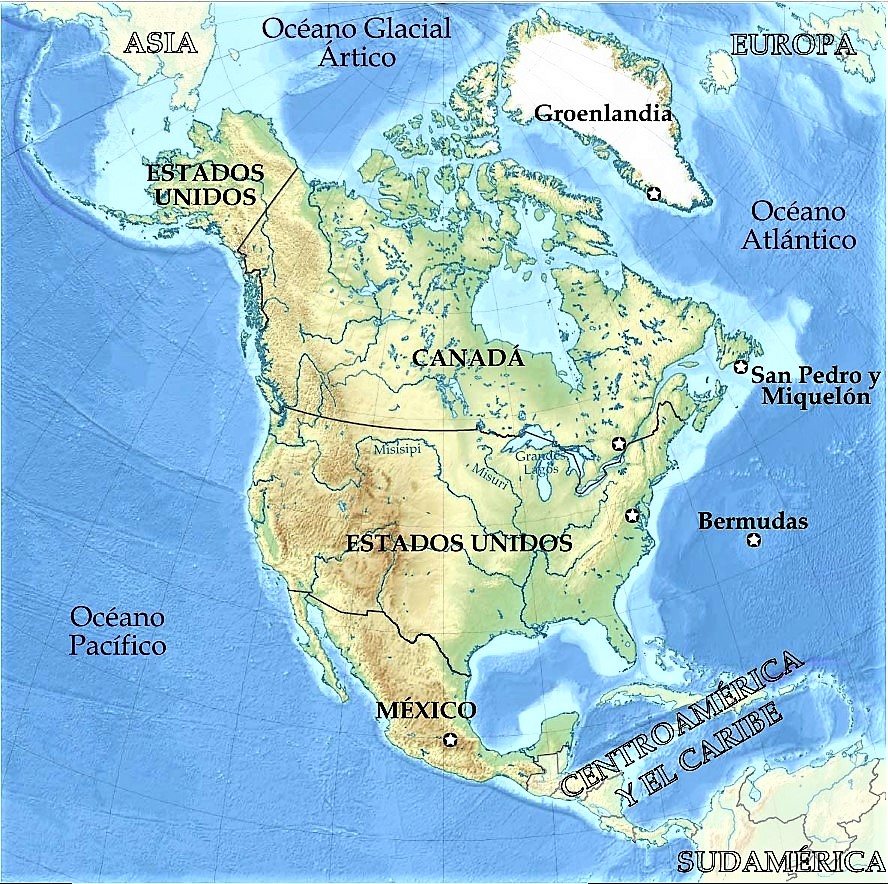 mapa fisico politico america norte