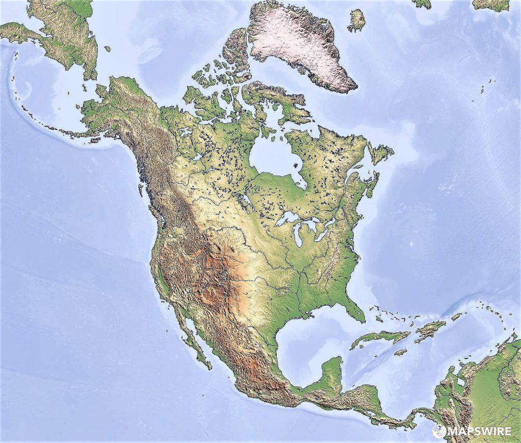 mapa fisdico mudo america norte