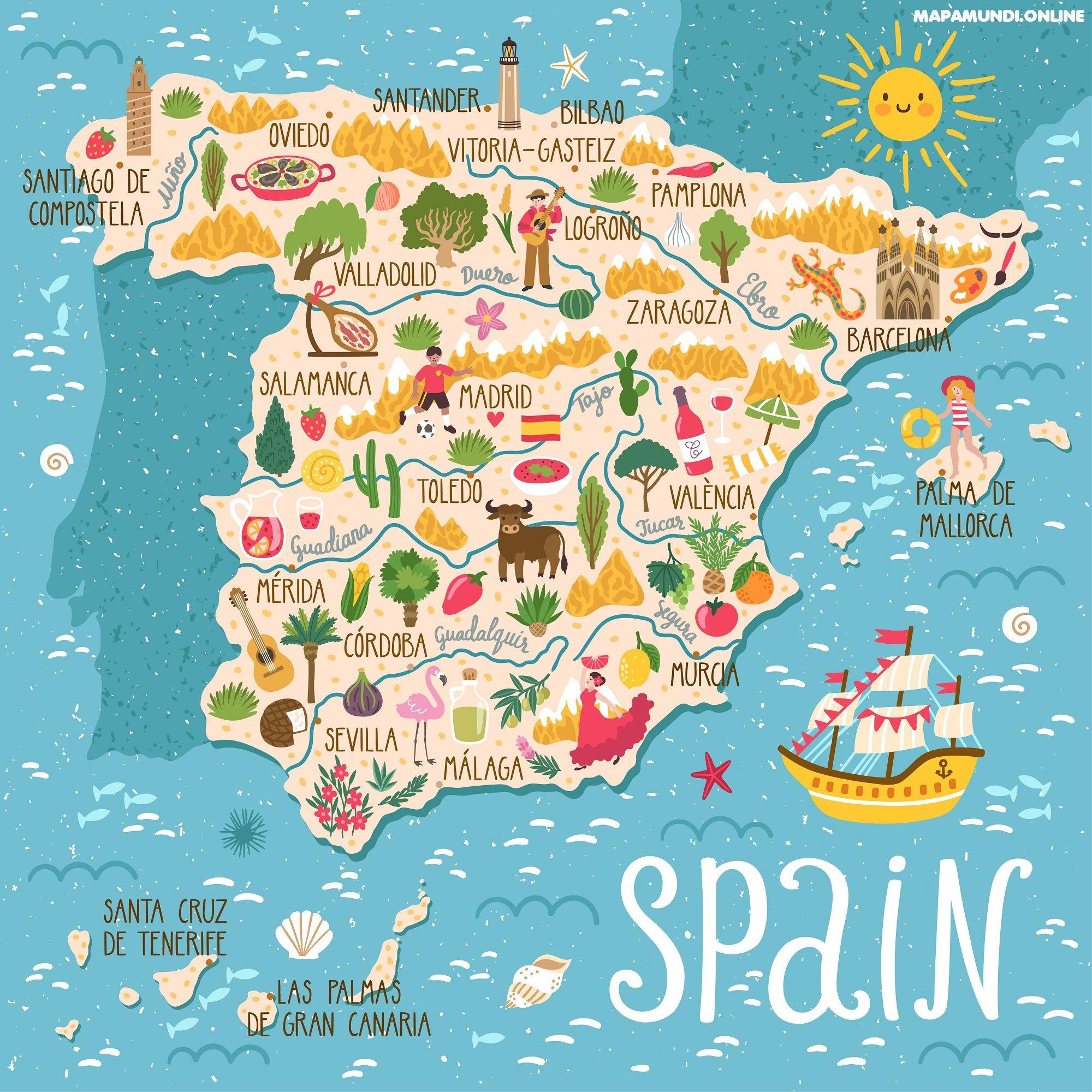 Mapa Relieve De España Para Niños.Mapa De Espana Politico Fisico Mudo Para