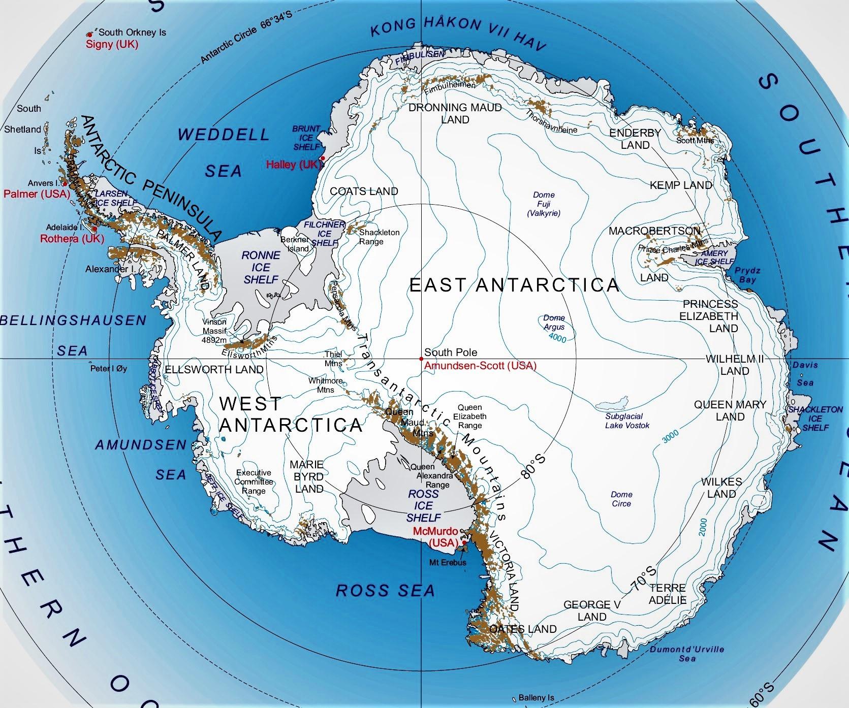Mapa De La Antartida Politico Fisico Nombres Mudo