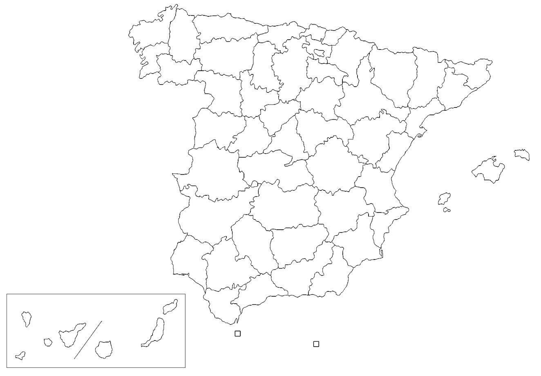 Mapa Mudo Comunidades Autonomas España Para Imprimir.Mapa De Espana Politico Fisico Mudo Para