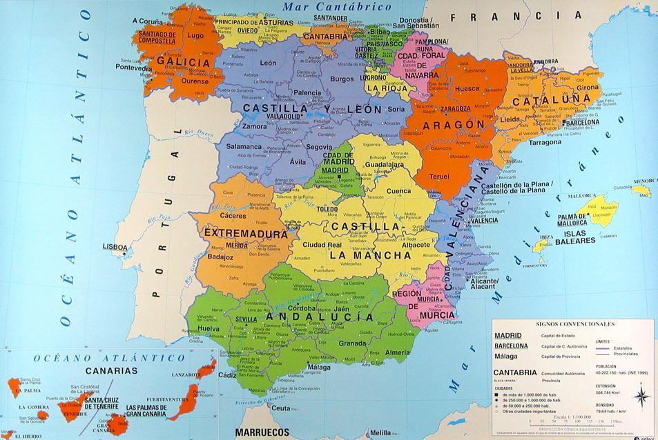 mapa politico españa con nombres