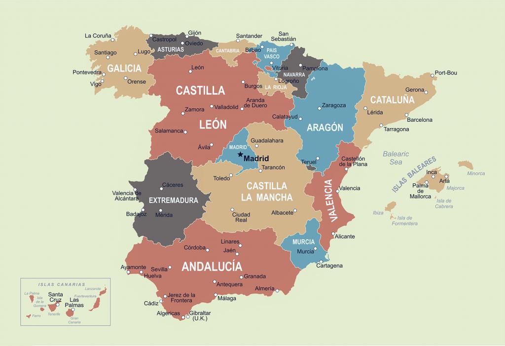 mapa españa politico a color