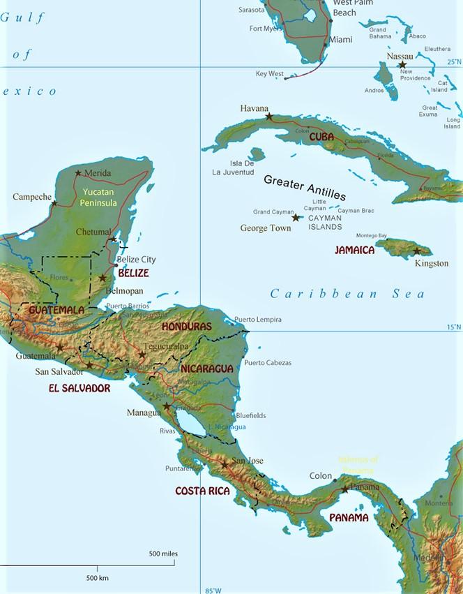 mapa fisico america central