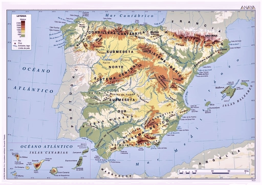 Sierra Morena Mapa Fisico.Mapa De Espana Politico Fisico Mudo Para
