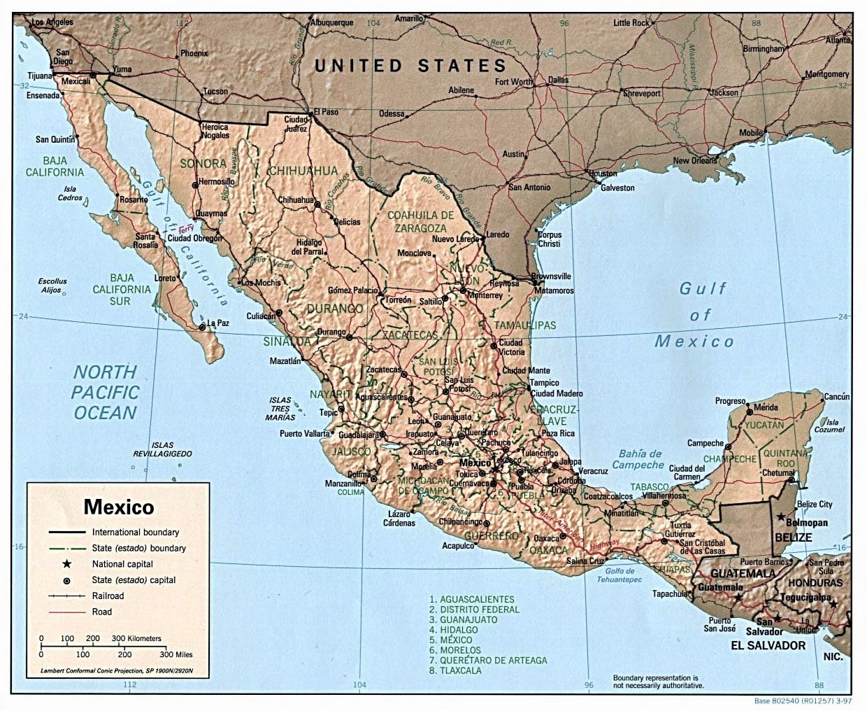 Mapa De México Nombres Y En Blancopolítico Y Físico