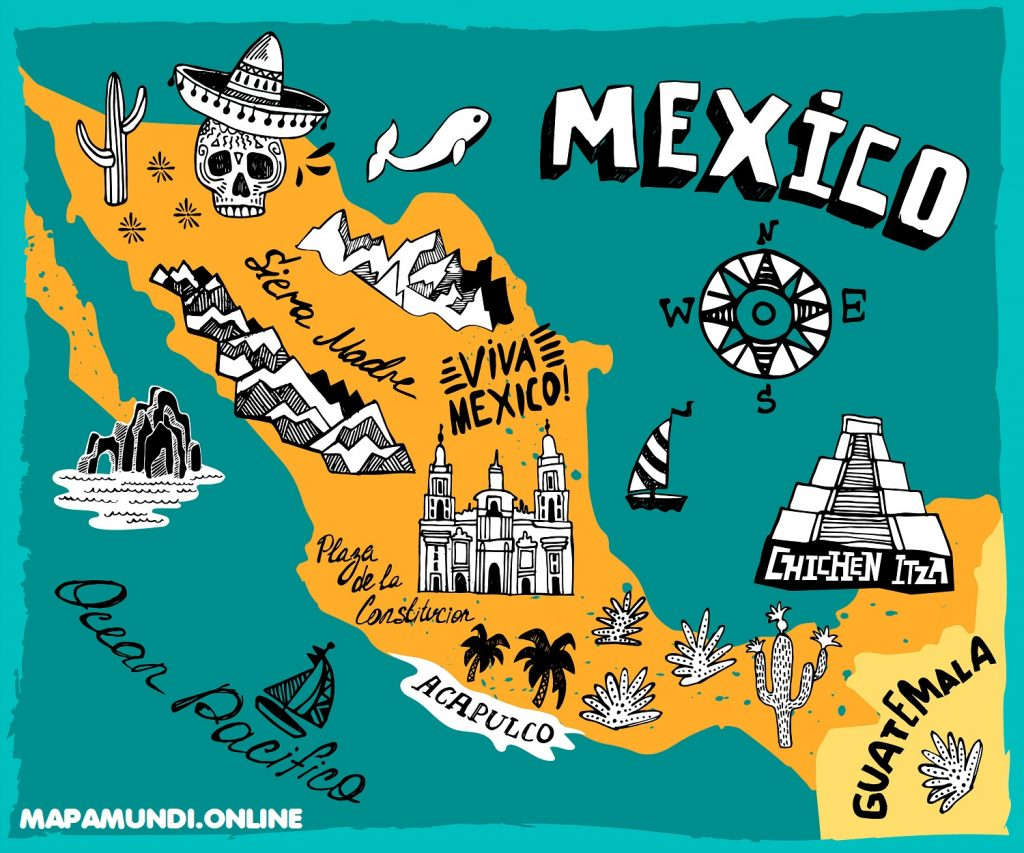 mapa mexico infantil niños color