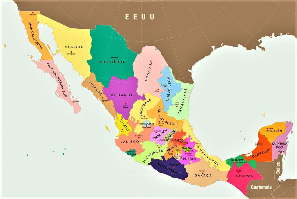 mapa de mexico con nombres