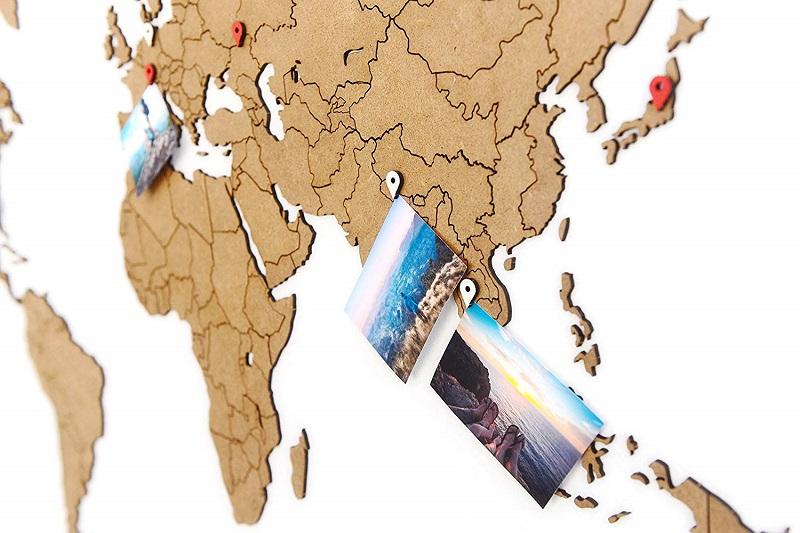 mapa mundo madera pared