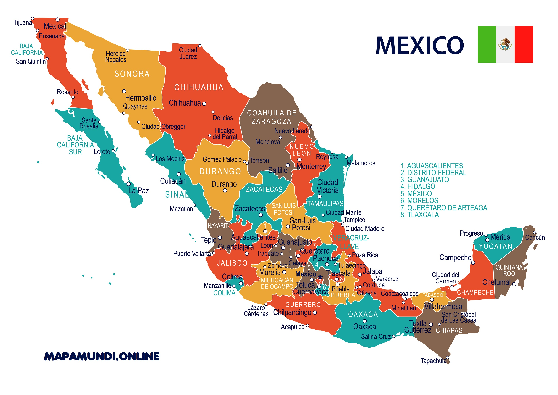 Mapa De México Político Y Físico Calidad Hd Para