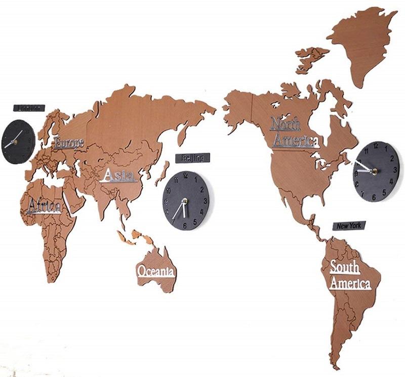 mapa mundi madera decorativo