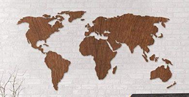 mapa mundi madera pared