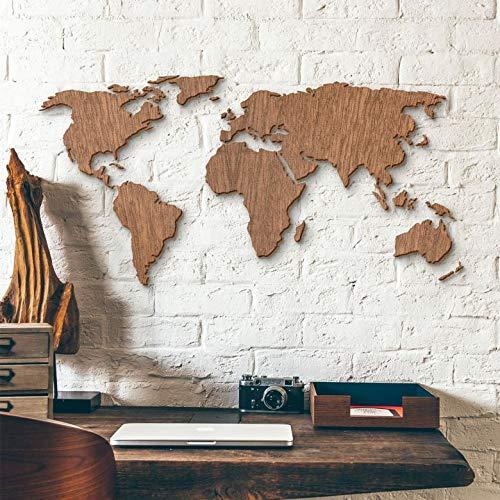 mapa mundi madera vintage pared