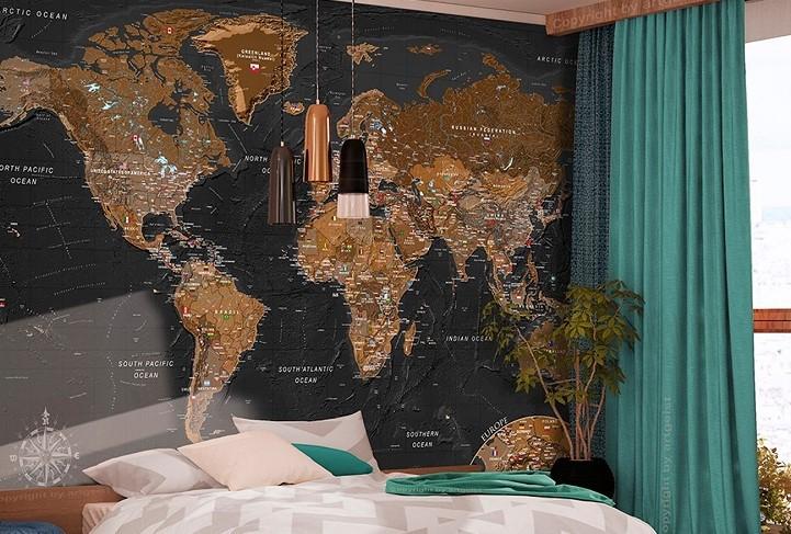 papel pintado mapa mundi pared adhesivo
