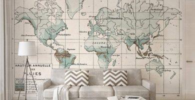 papel pintado mapamundi para pared