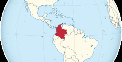 mapamundi colombia globo terraqueo
