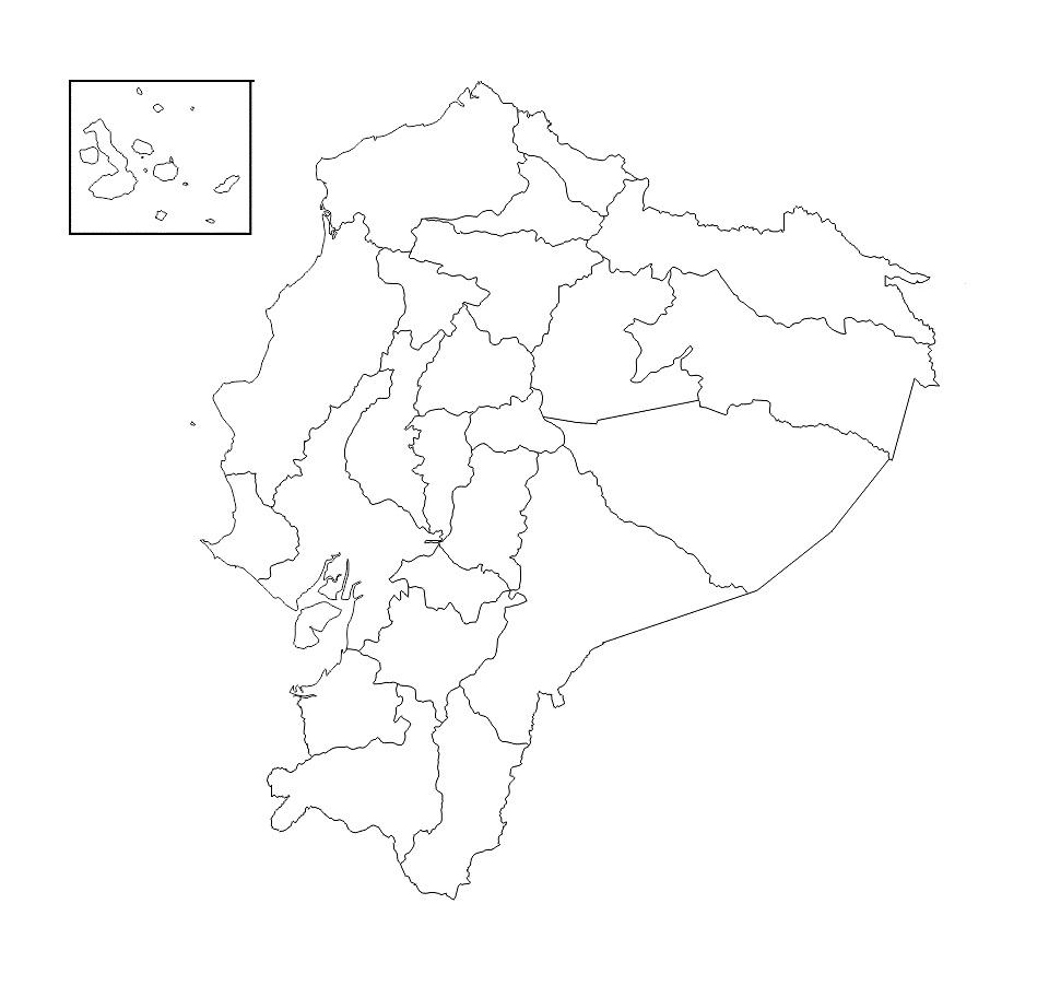 mapa ecuador blanco para colorear