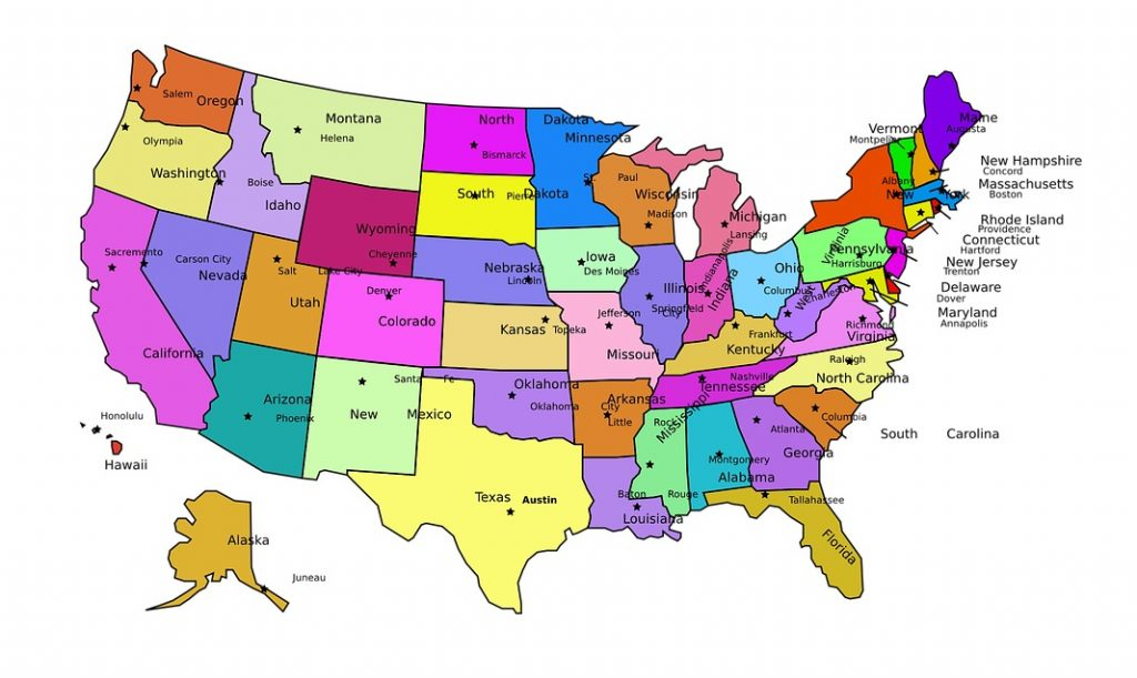 mapa eeuu con nombres capitales