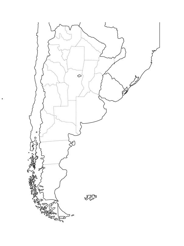mapa argentina para colorear mudo