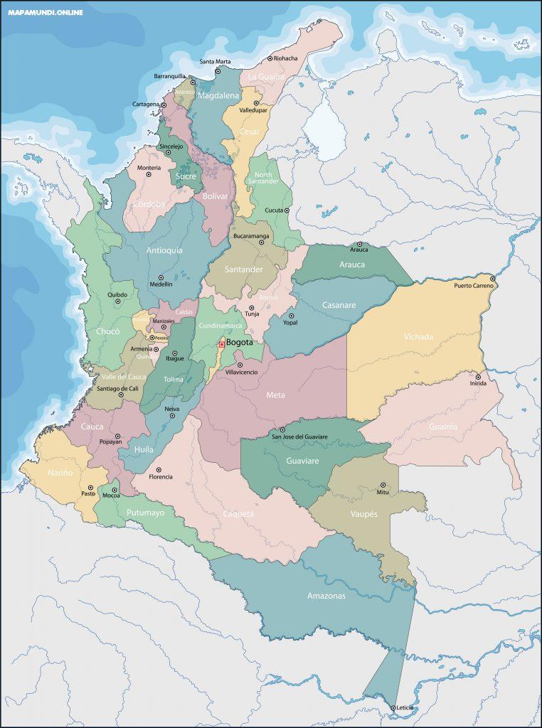 mapa de colombia con sus departamentos y capitales
