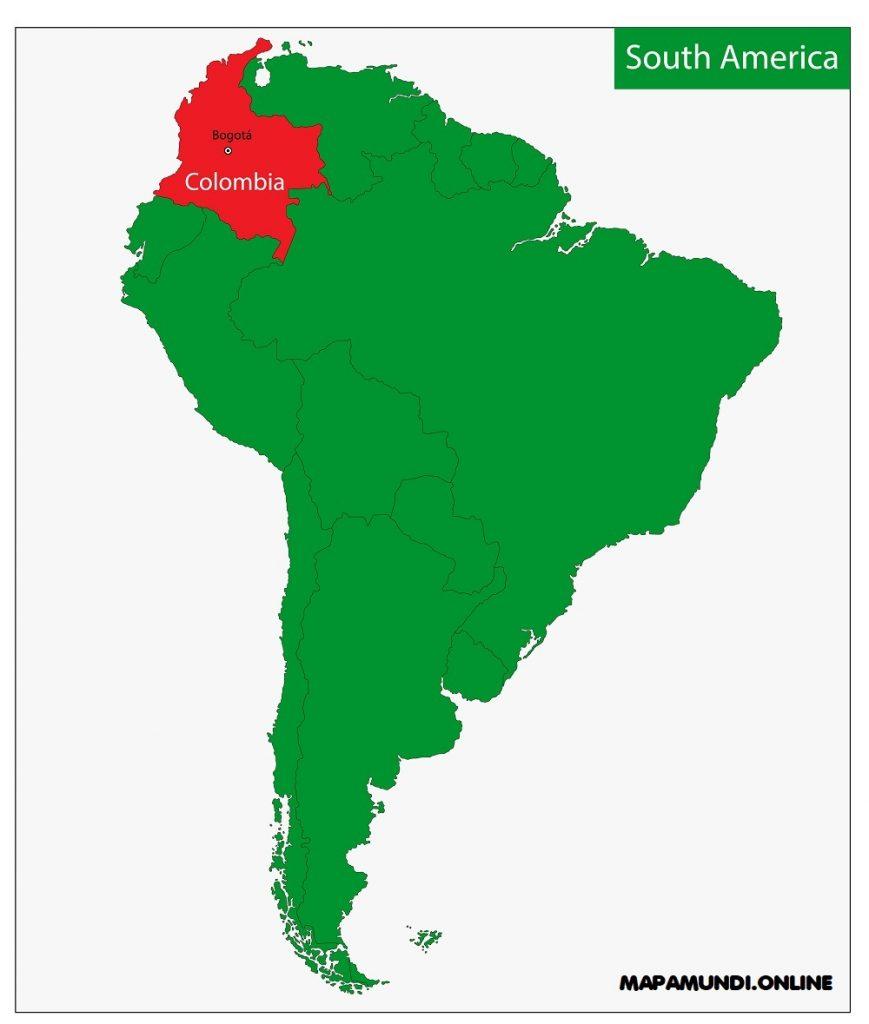 mapa colombia america del sur continente