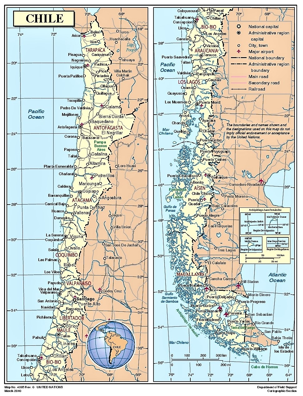 Mapa Sur De Chile.Mapa De Chile Politico Fisico Imprimir Colorear O Pintar 2020